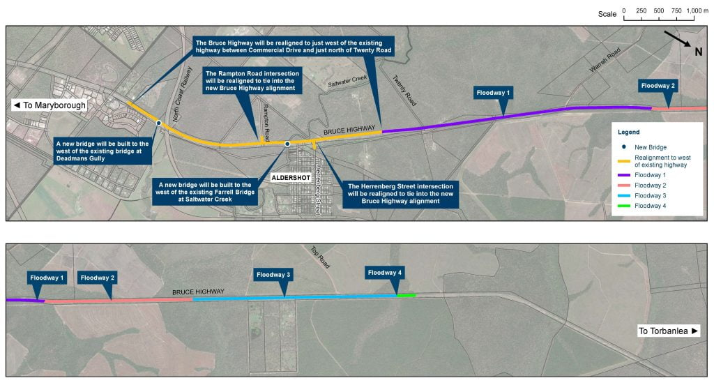 Bruce Highway - Saltwater Creek Upgrade map